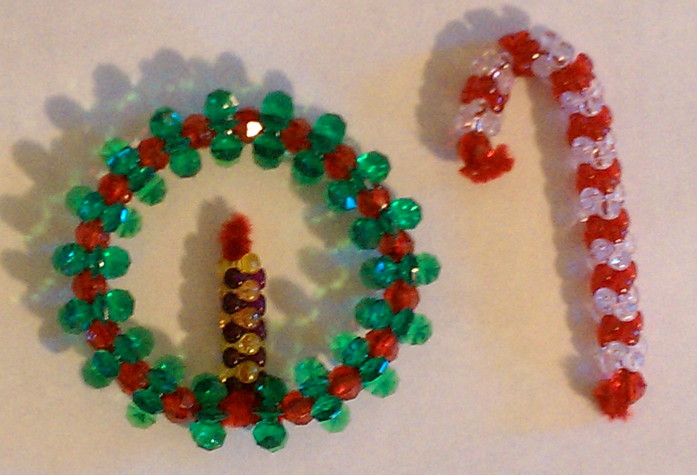 Tutorial - Beaded Candy Cane and Wreath