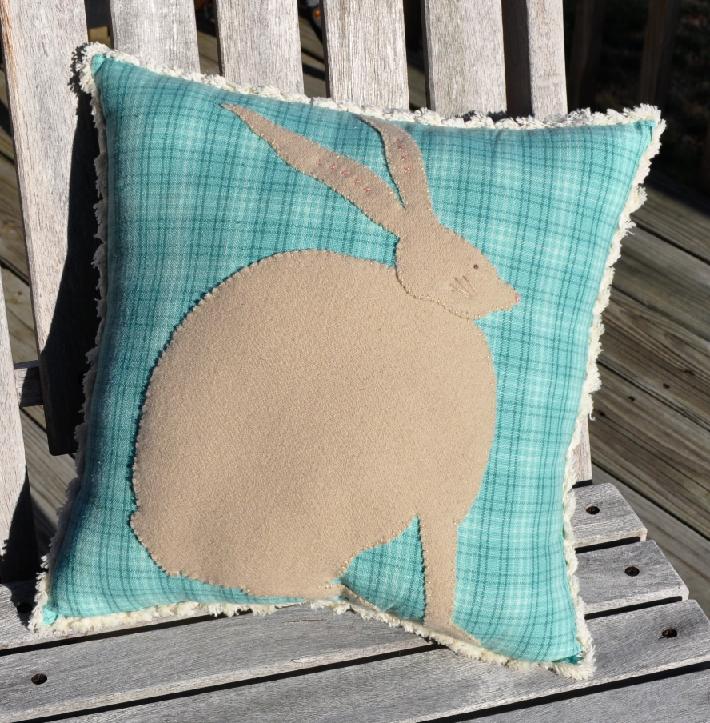 Wool Rabbit Throw Pillow
