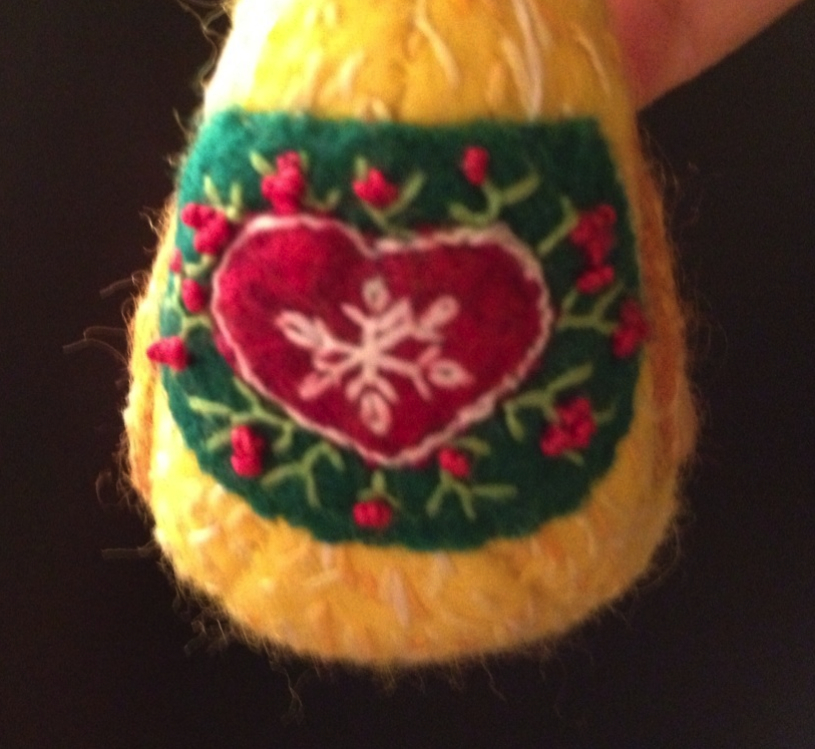 Detail on Wool Duck Ornament
